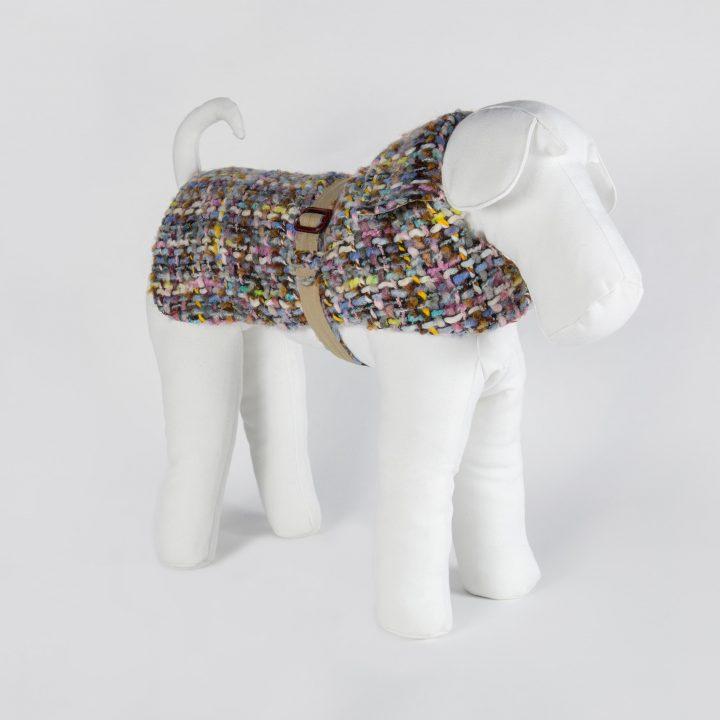 cappotto impermeabile per cani double-face su misura in tessuto Chanel di lana