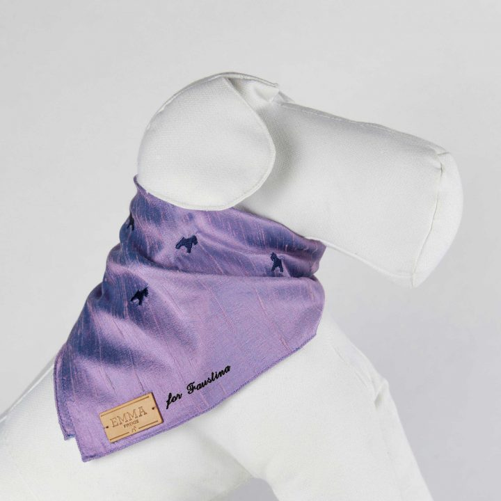 embroidered and personalized dog scarf in lilac silk