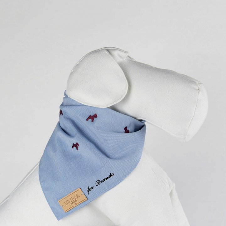 embroidered and personalized dog scarf in light blue cotton