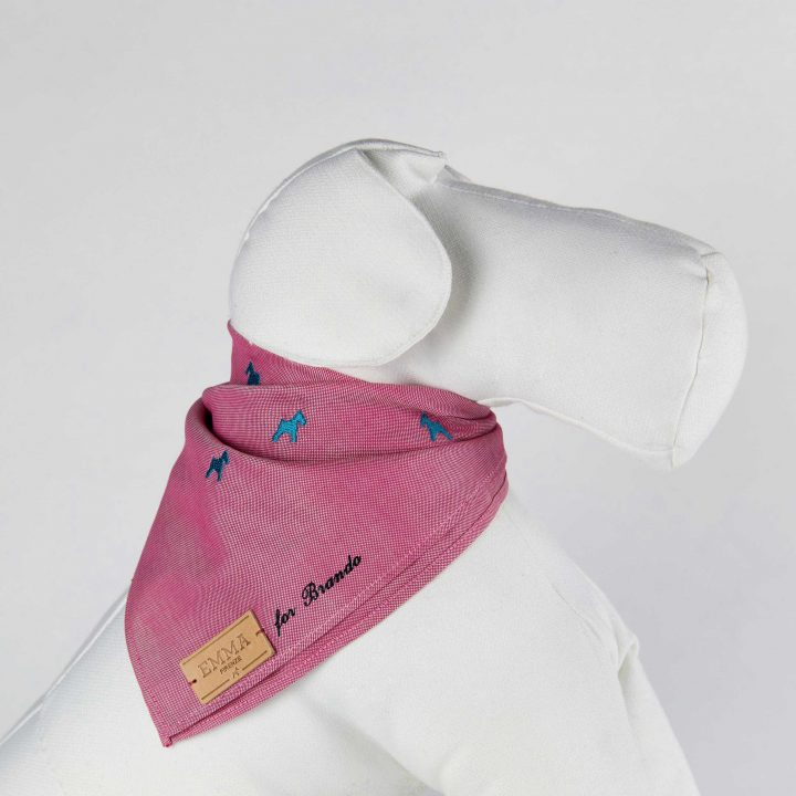 embroidered and personalized dog scarf in red cotton