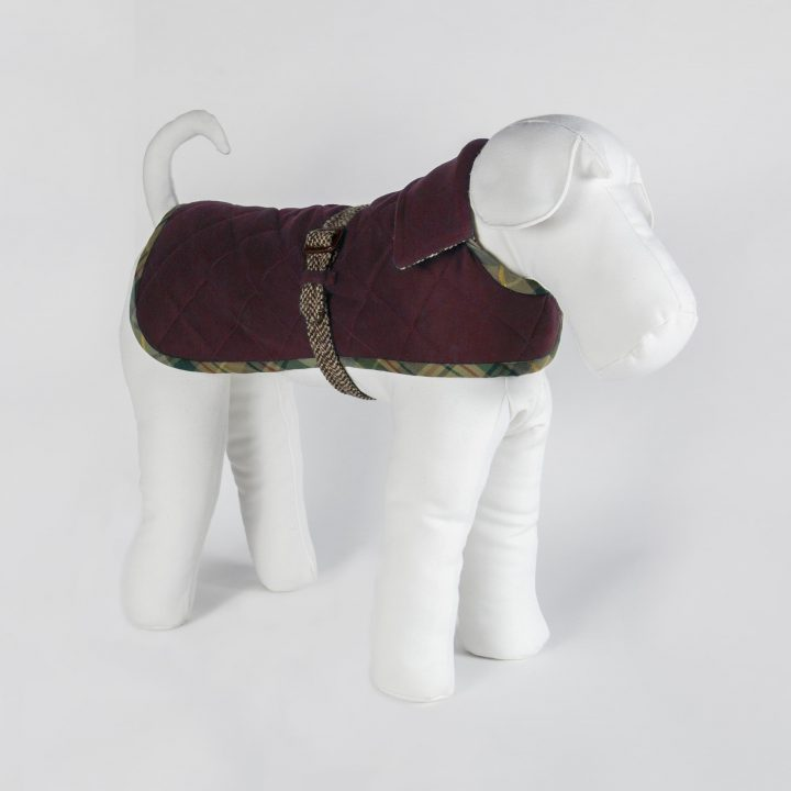 tailored reversible dog clothing in tweed and red cashmere