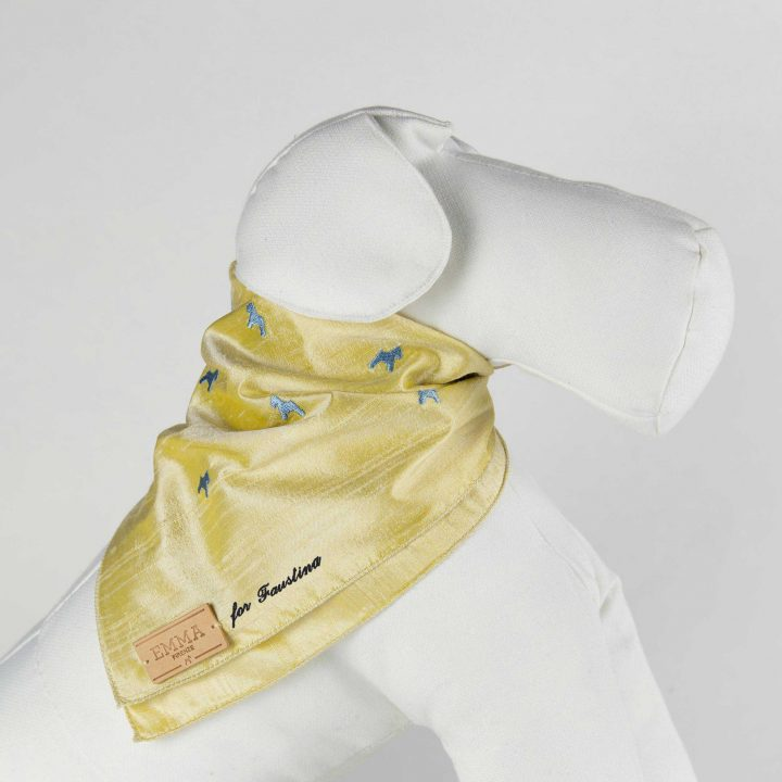 embroidered and personalized dog scarf in yellow silk