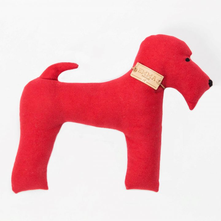 gift toy in red moleskin fabric