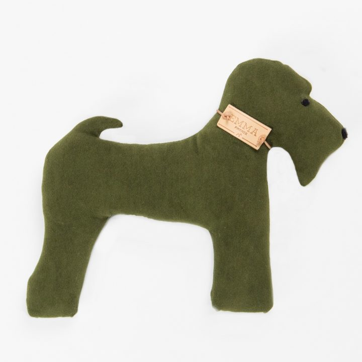 gift toy in green moleskin fabric