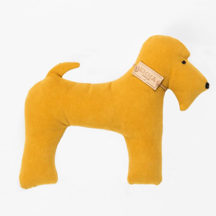 gift toy in yellow moleskin fabric