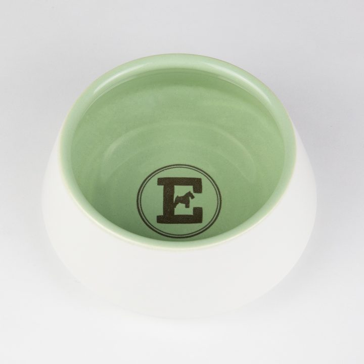 water bowl for dogs in green ceramic