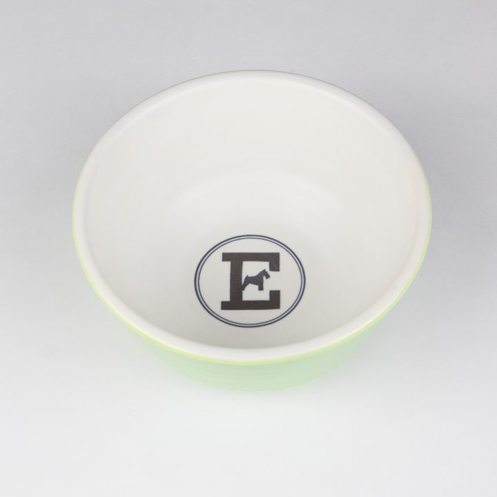 food bowl for dogs in green ceramic