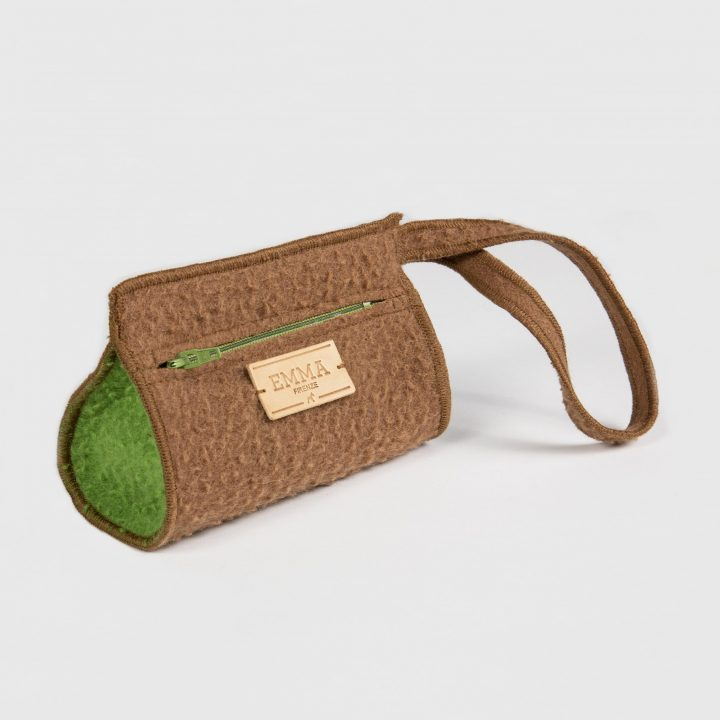 treat bag in brown casentino fabric