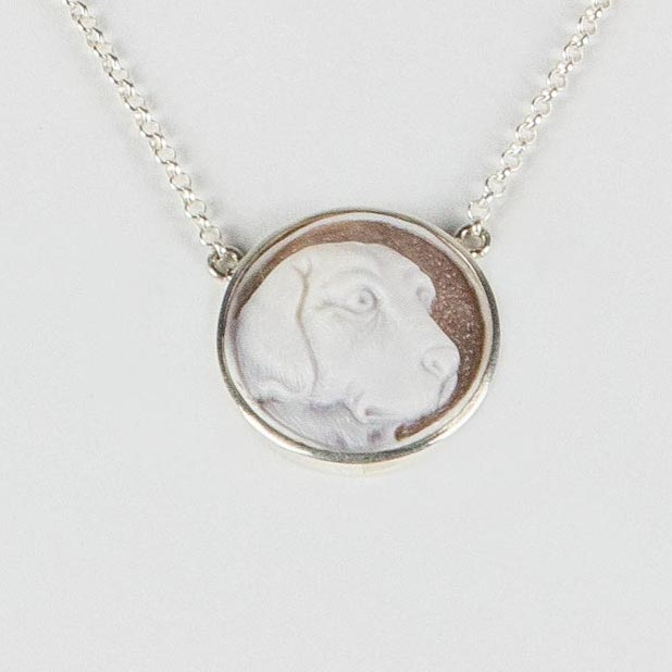 sterling silver necklace with personalized cameo