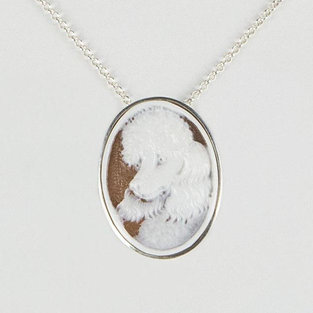 sterling silver necklace/brooch with personalized cameo