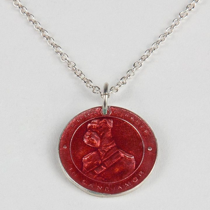 sterling silver necklace with coin and red enamel
