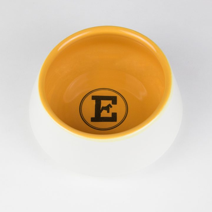 water bowl for dogs in yellow ceramic
