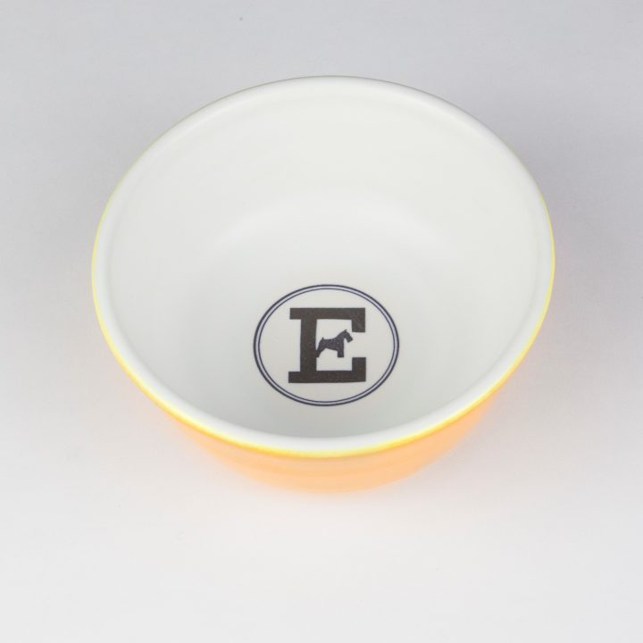 food bowl for dogs in yellow ceramic