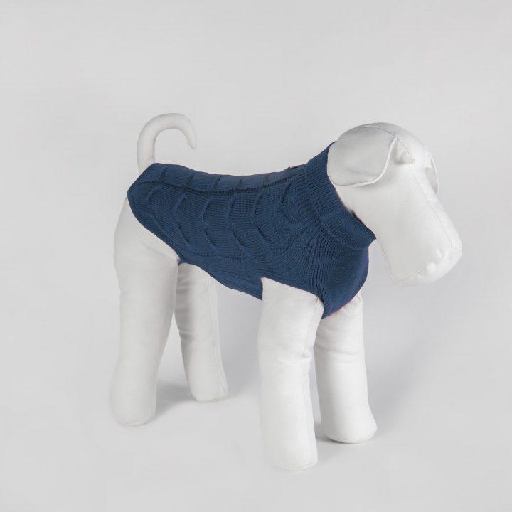 abbigliamento maglia per cani su misura in lana blu avio