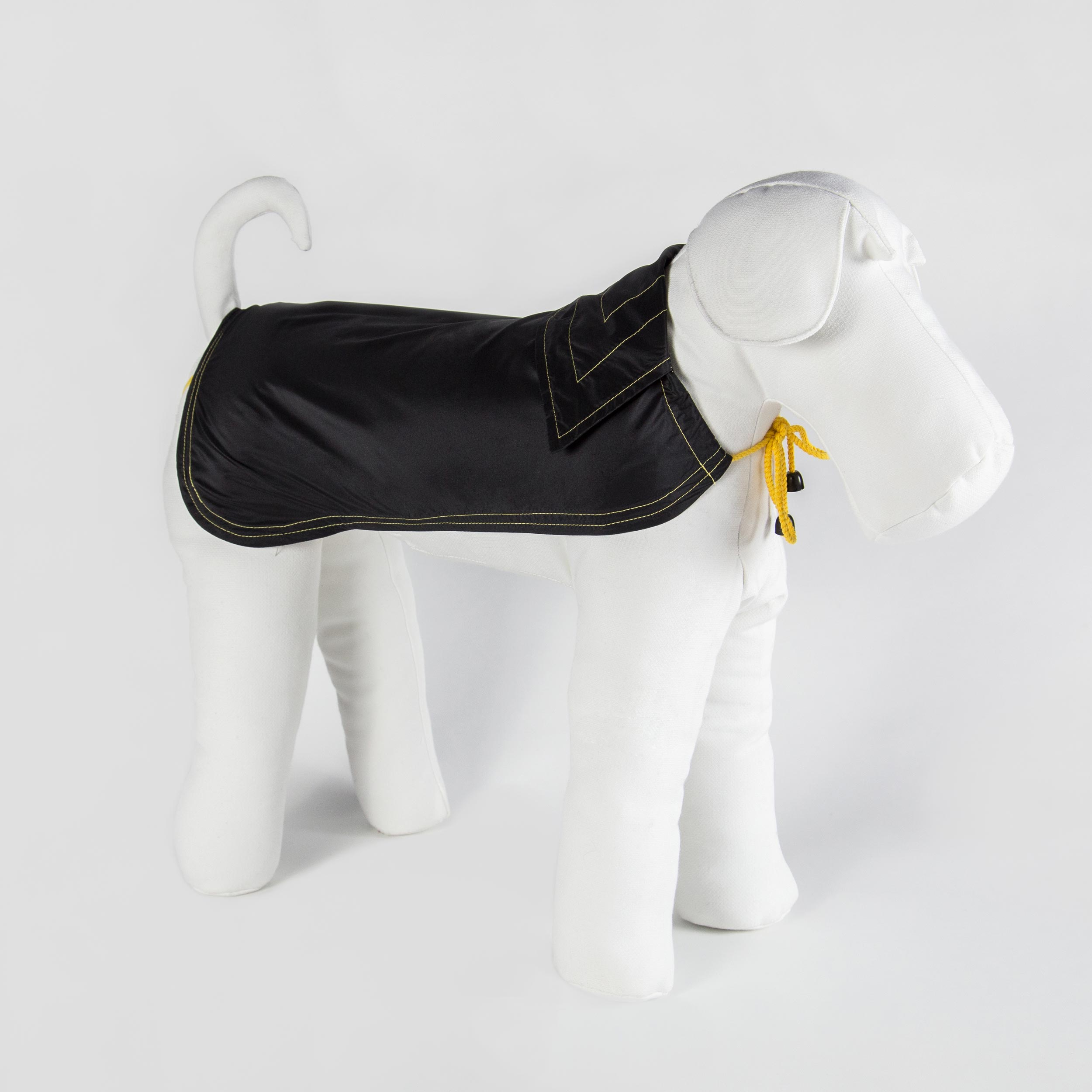 bespoke raincoat  for dogs in black fabric and yellow details