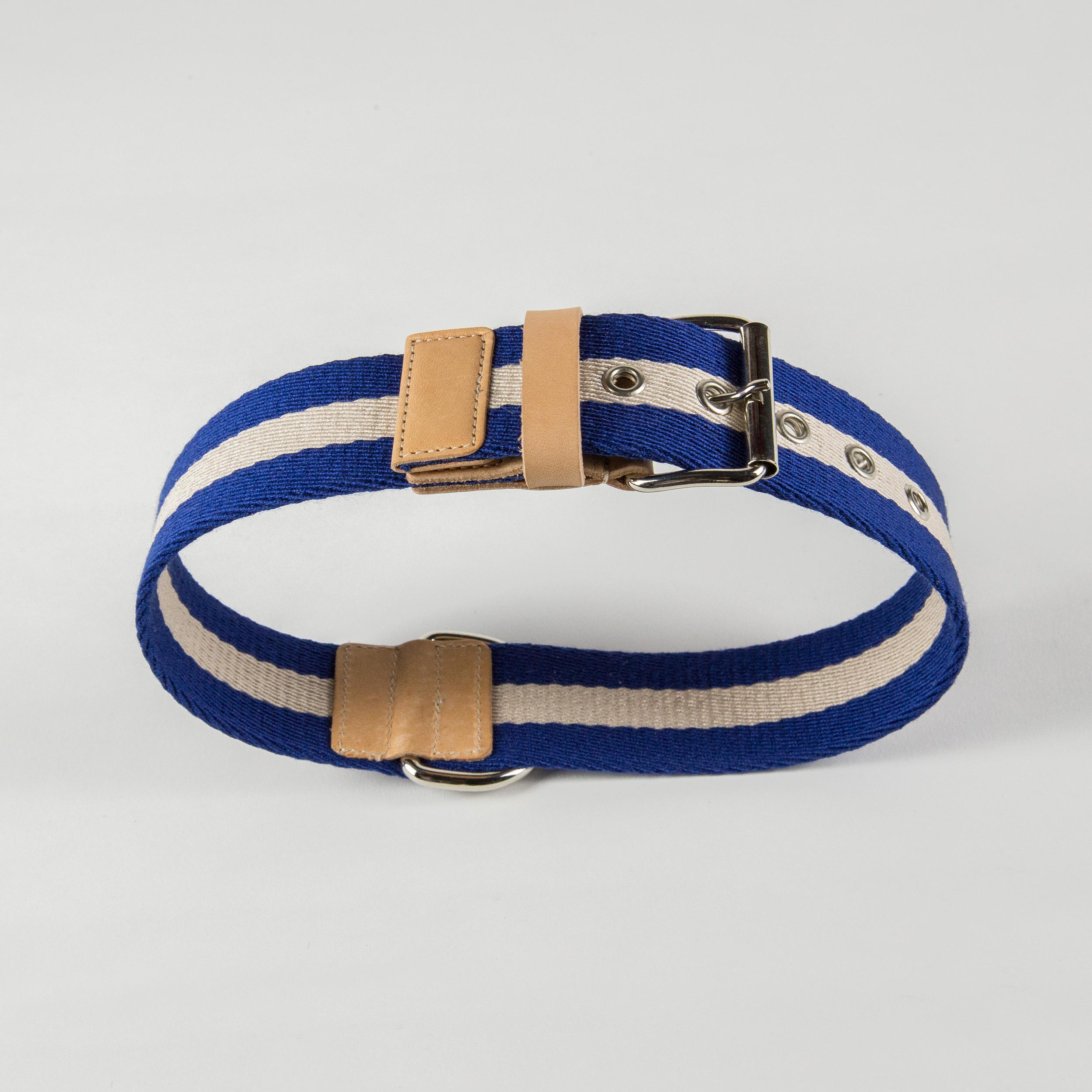collar for dogs in blue/cream fabric and leather