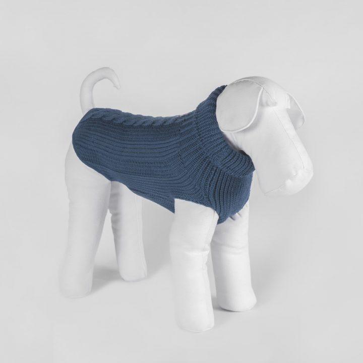 abbigliamento maglia per cani su misura in lana blu grigio
