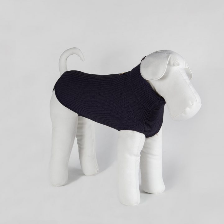 bespoke sweater for dogs in pure blu cashmere