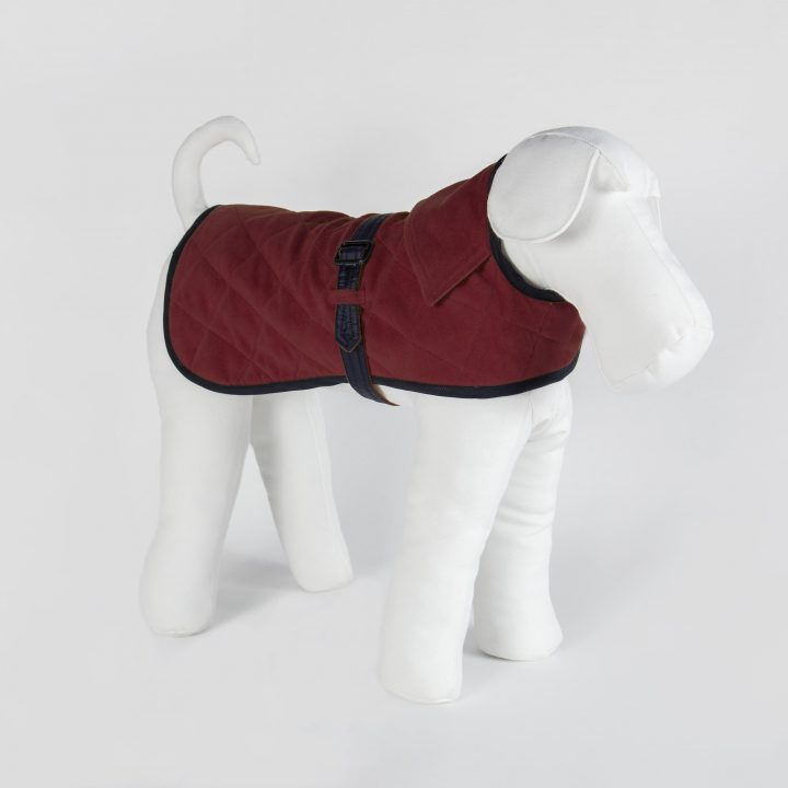 bespoke double-sided waterproof dog coat in red moleskin