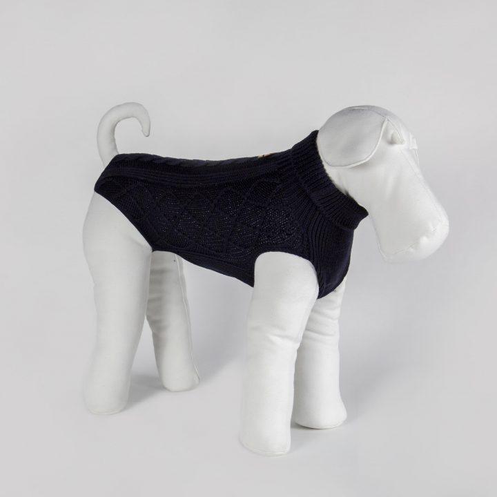 maglia per cani su misura in lana blu navy