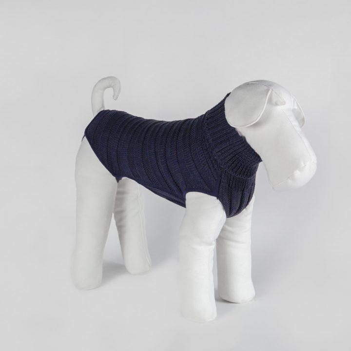 abbigliamento maglia per cani su misura in lana blu