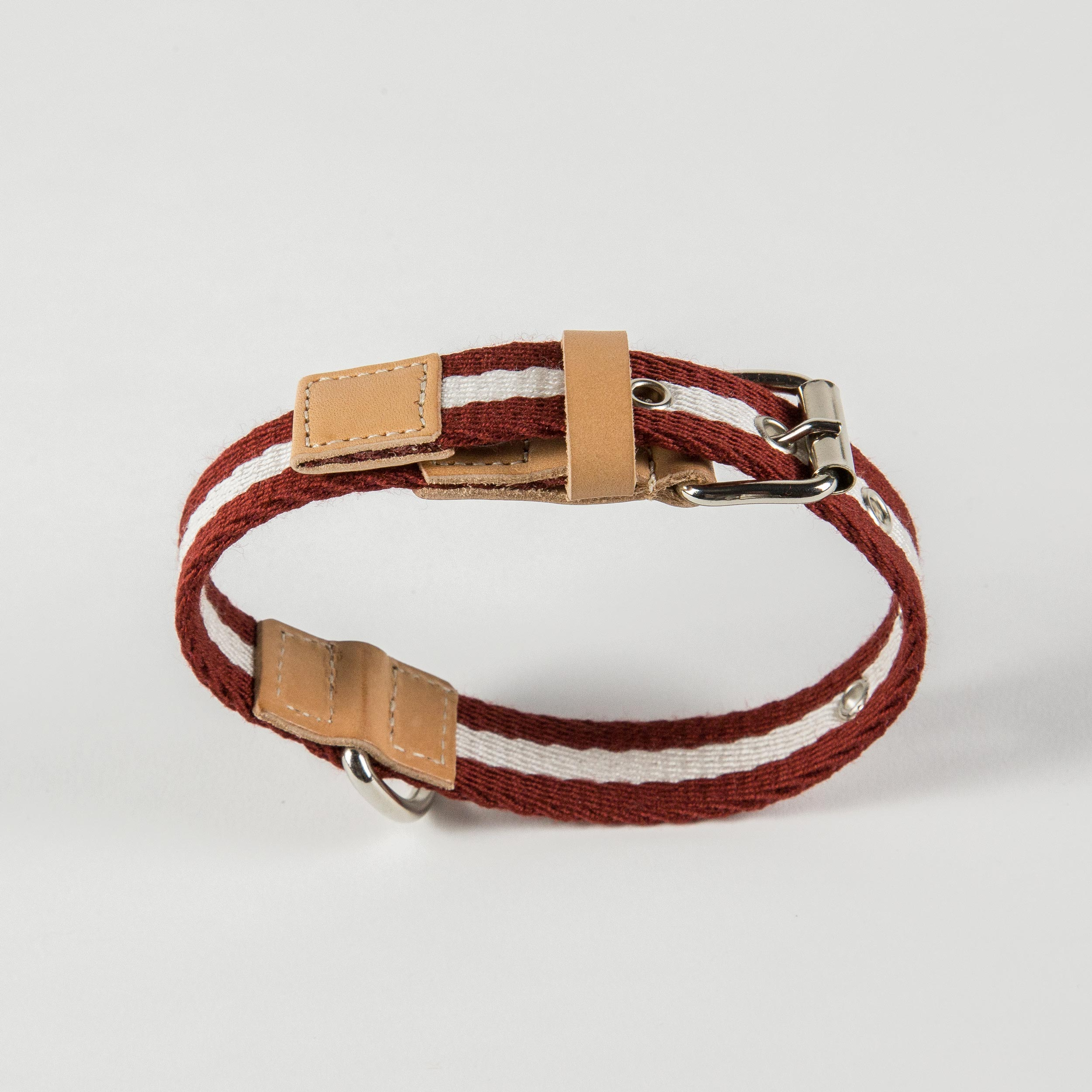 collar for dogs in bordeaux/cream fabric and leather