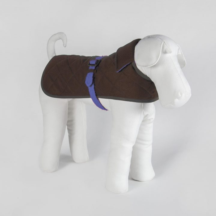 bespoke double-sided dog coat in blue fabric and brown cashmere