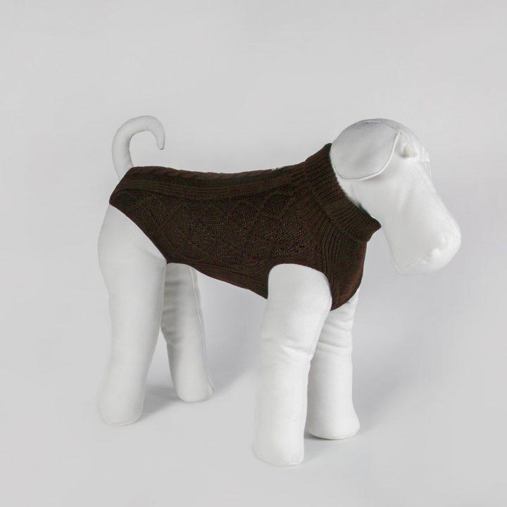 abbigliamento maglia per cani su misura in lana marrone