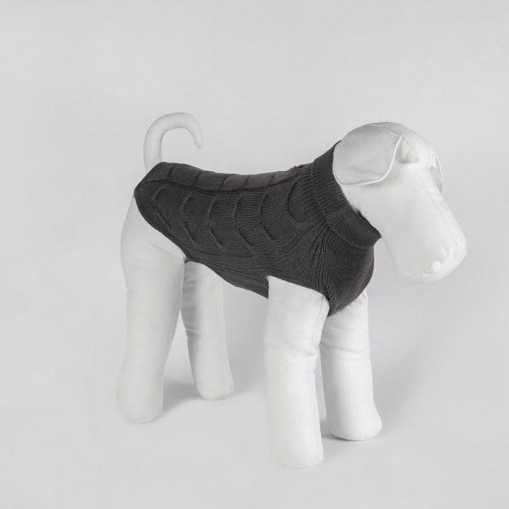 abbigliamento maglia per cani su misura in lana grigia