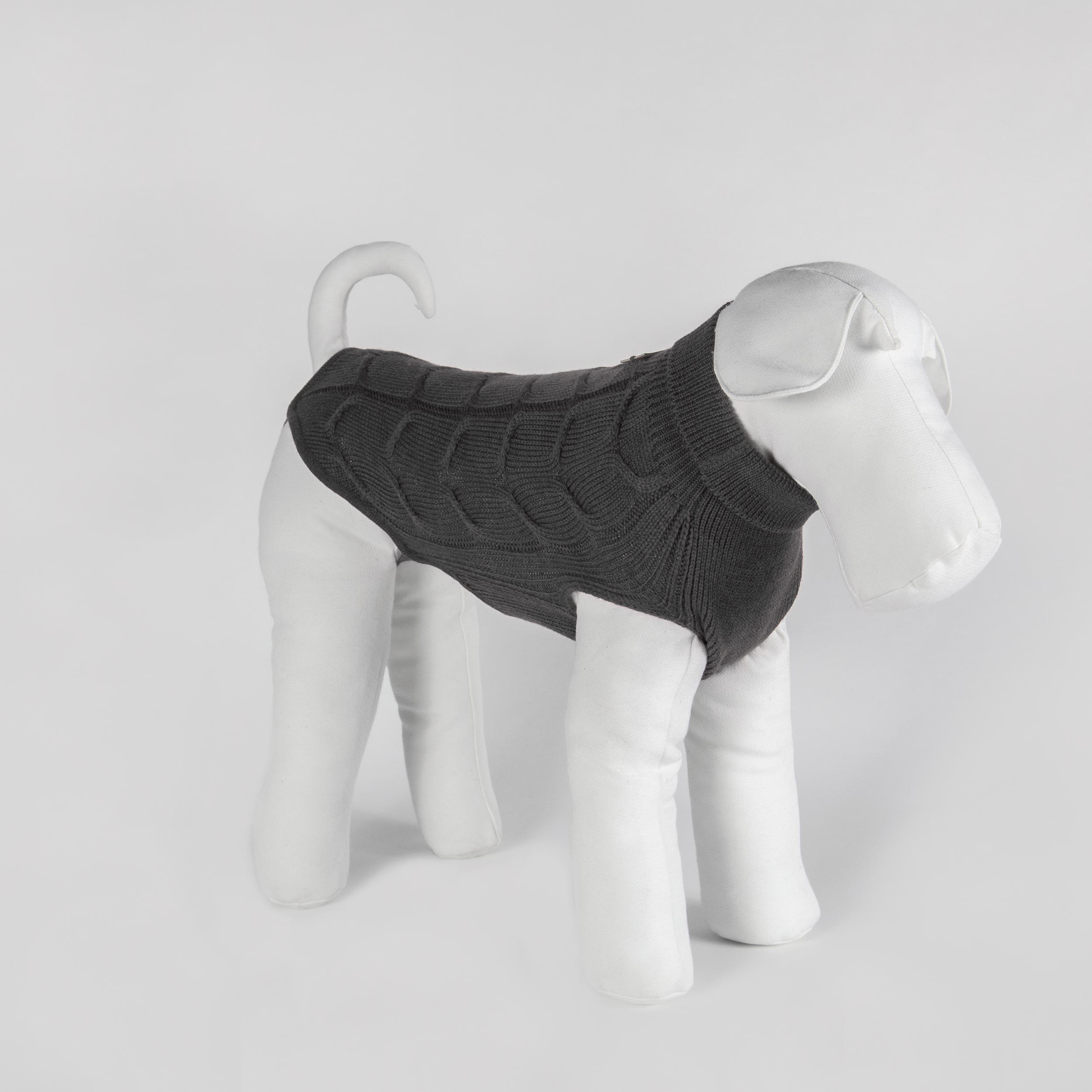 tailored dog sweater in grey pure wool