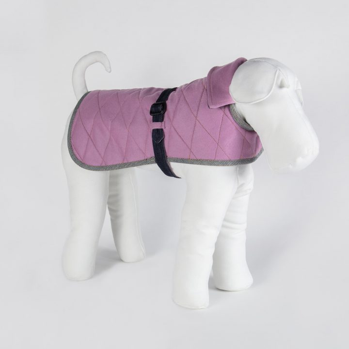 tailored double-sided dog coat in denim and pink cashmere