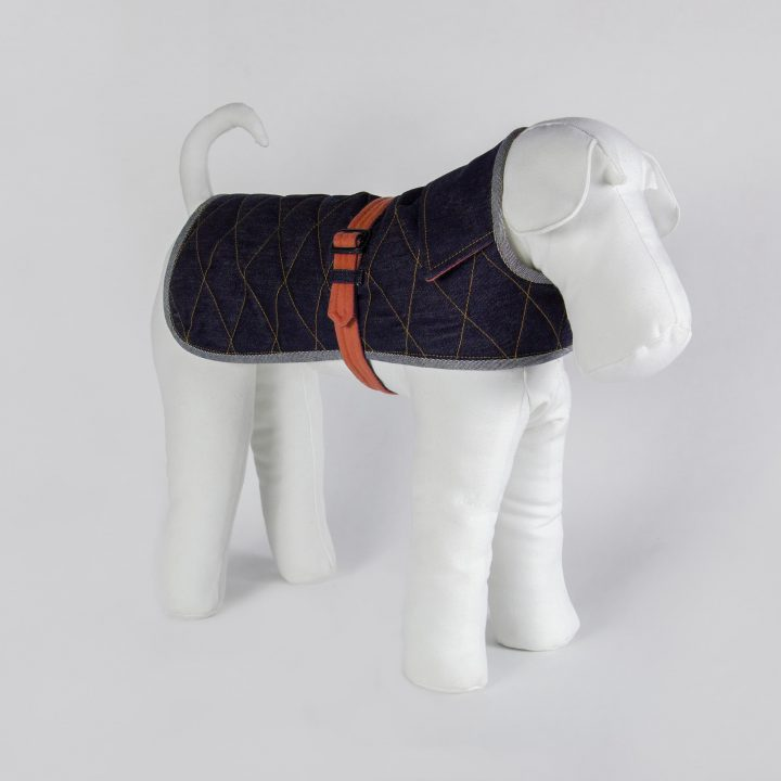tailored double-sided dog coat in denim and orange cashmere