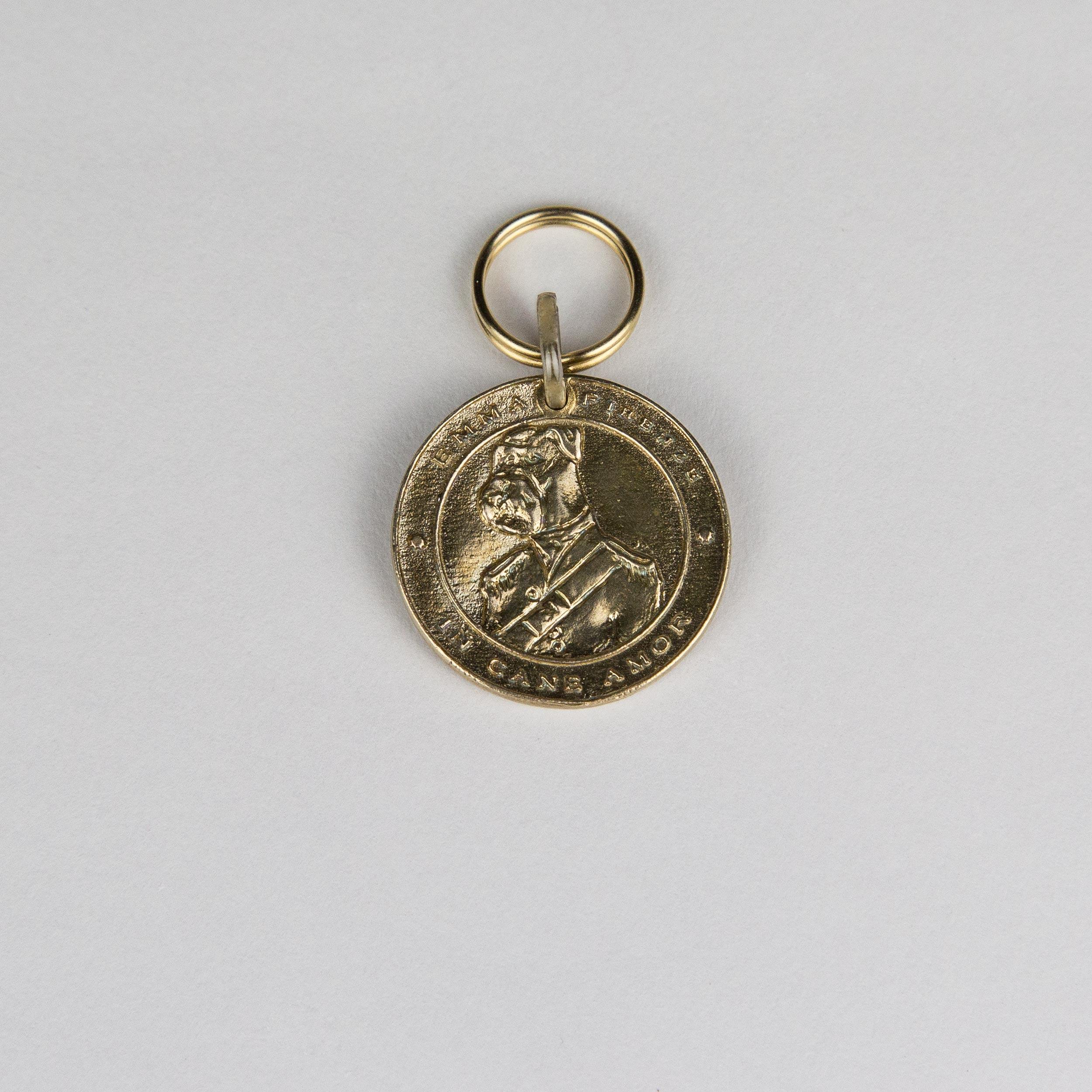 Edward brass coin medal pup emma firenze pet wear for Coin firenze