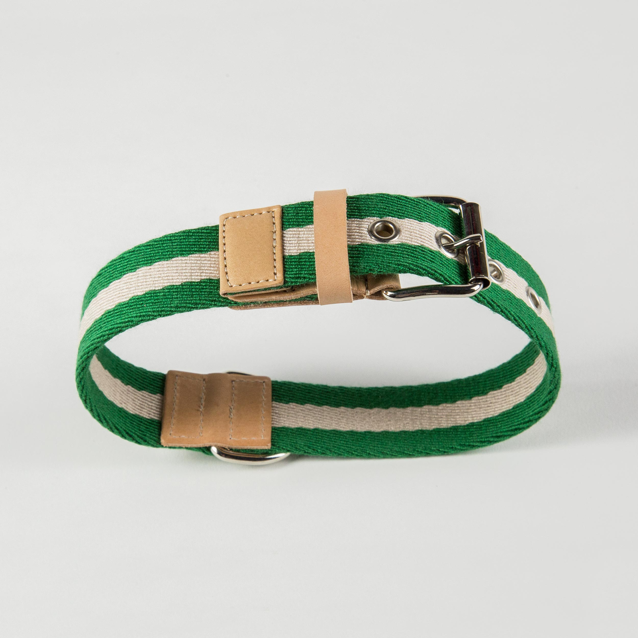 collar for dogs in green/cream fabric and leather