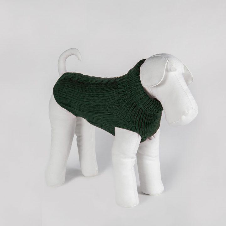 bespoke dog sweater in warm forest green merino wool