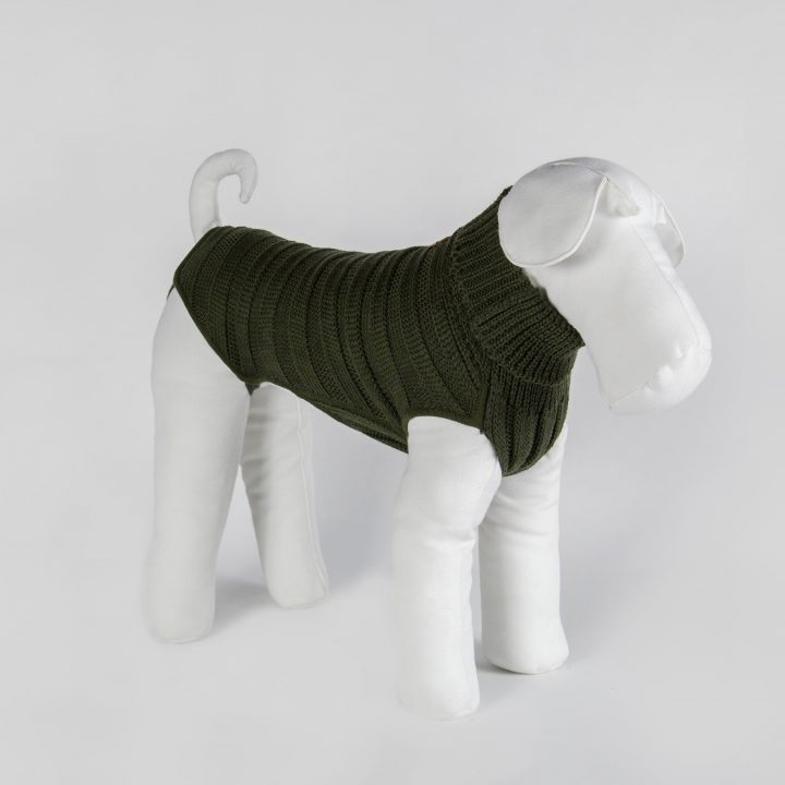 tailored sweater for dogs in military green wool