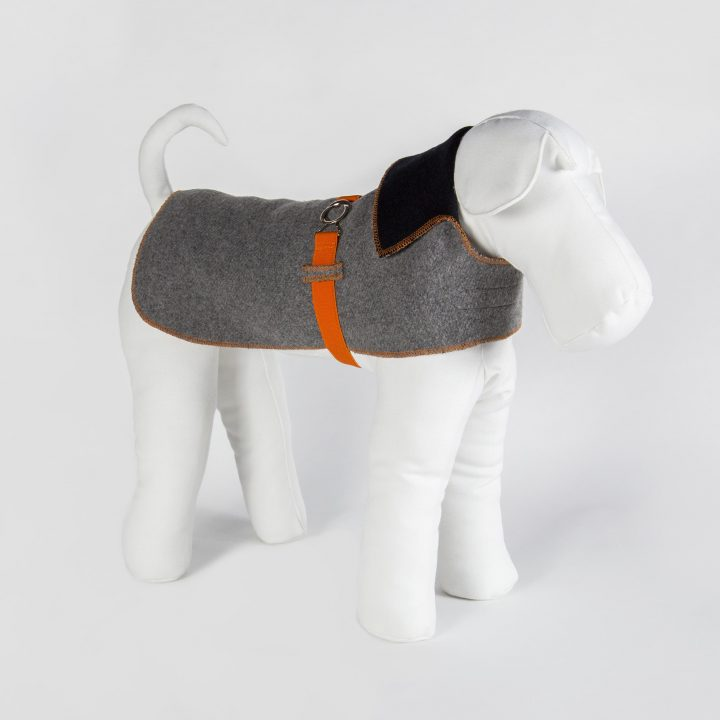 tailored double-sided dog coat in gray blue paired fabric