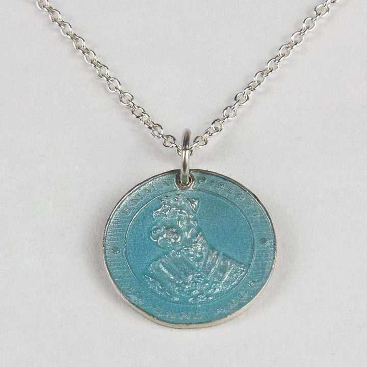 sterling silver necklace with coin and light blue enamel