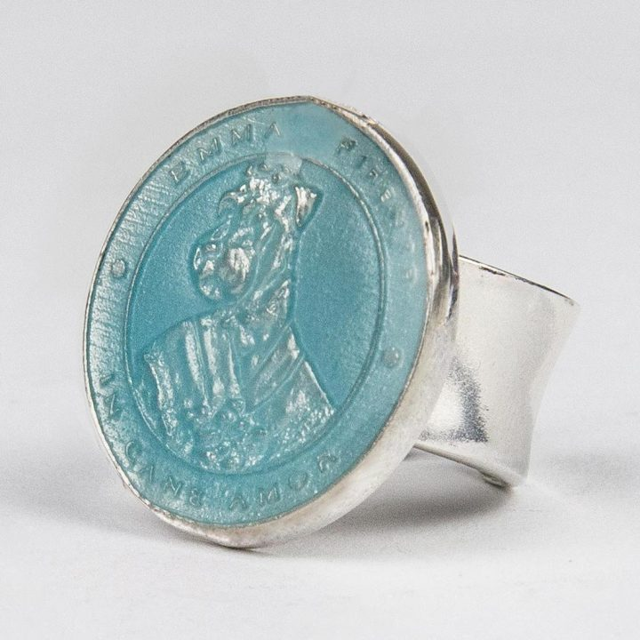 sterling silver ring with coin and light blue enamel