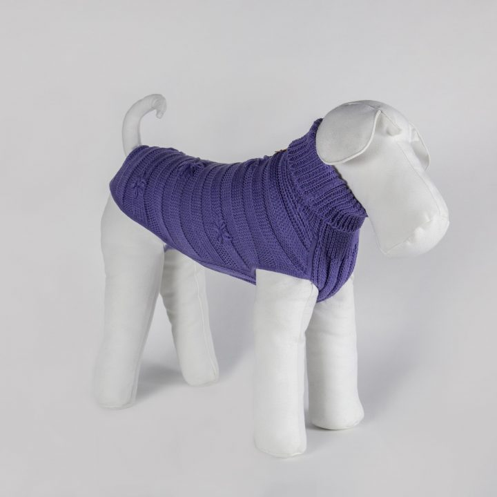 bespoke sweater for dogs in lilac color wool