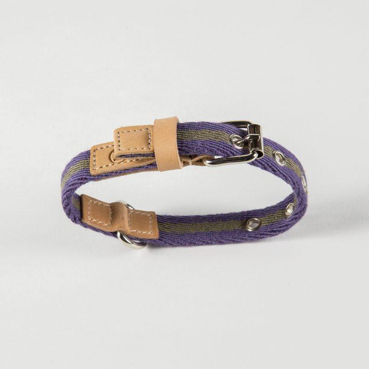 collare per cani in tessuto lilla/sabbia e pelle
