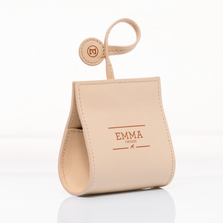 dog waste bag dispenser in natural color leather