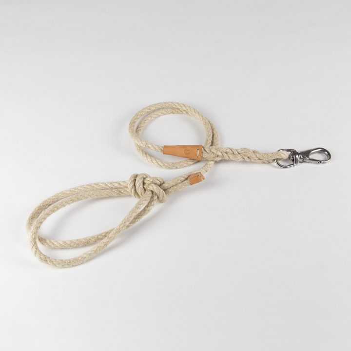 lead for dogs in natural jute rope and cowhide leather