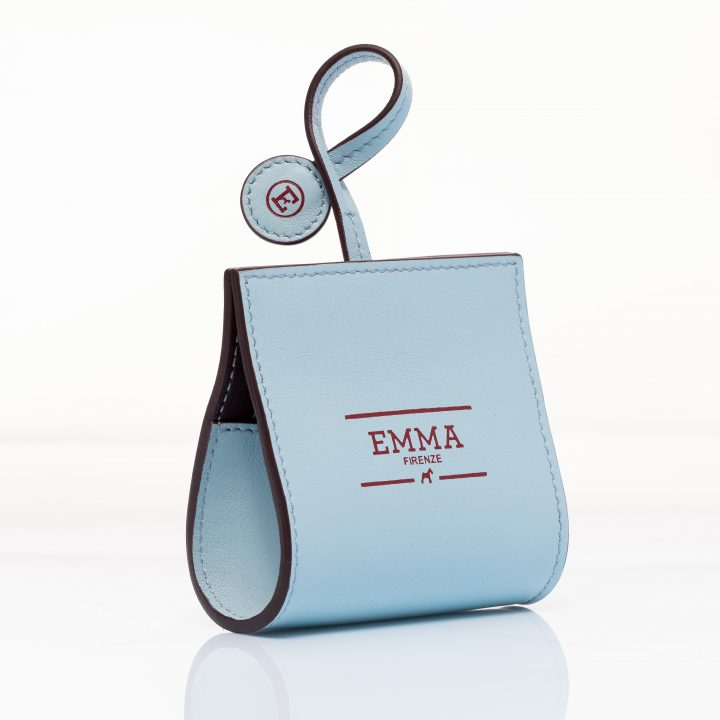 dog waste bag dispenser in pale blue and wine red leather