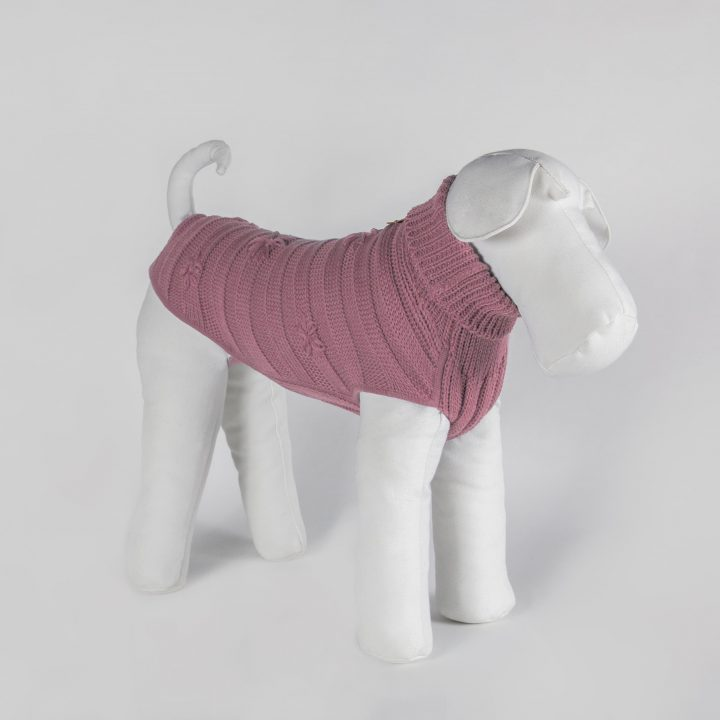 bespoke sweater for dogs in pink color wool