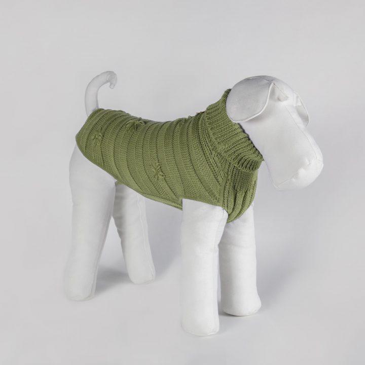 abbigliamento maglia per cani su misura in lana verde pistacchio