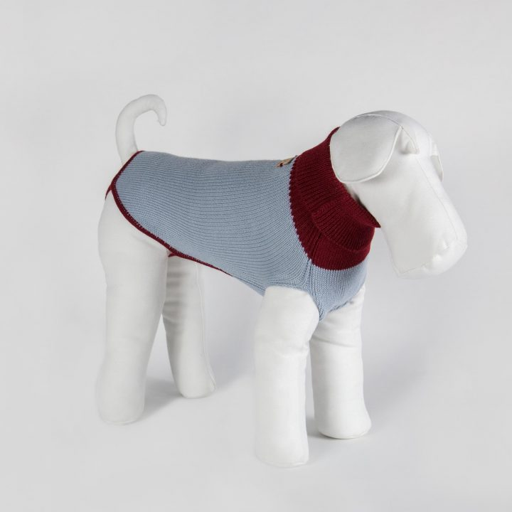 bespoke sweater for dogs in powder blue pure alpaca