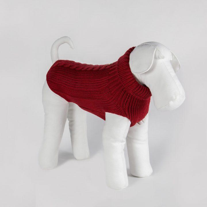 abbigliamento maglia per cani su misura in lana merino rossa