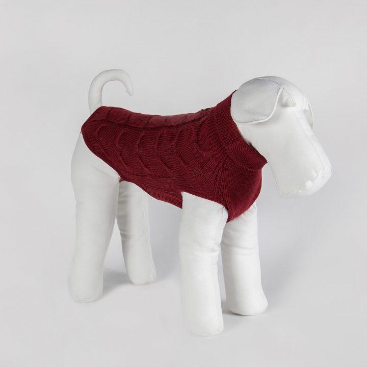 abbigliamento maglia per cani su misura in lana rossa
