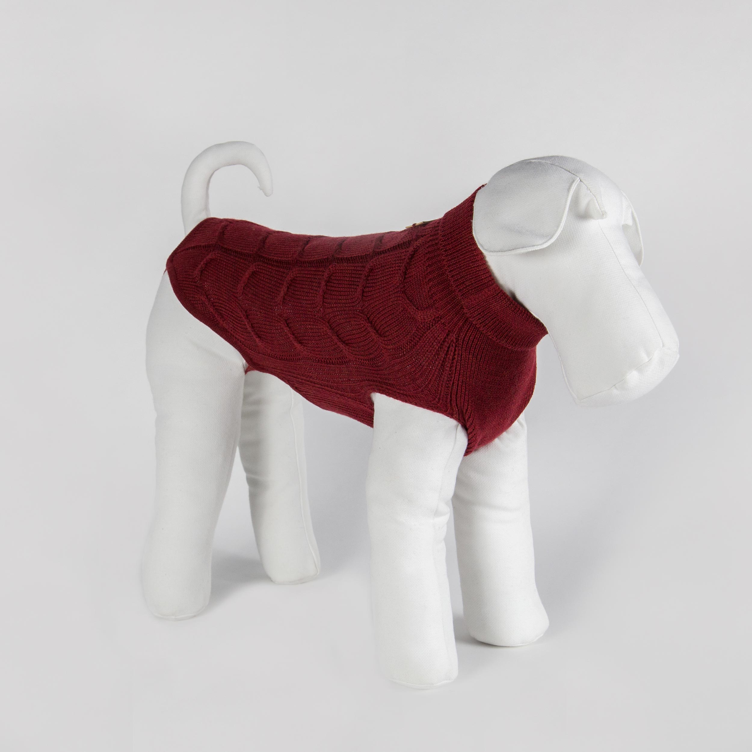 made-to-measure dog sweater in red pure wool
